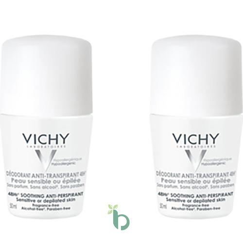 Vichy Deodorant Anti-Perspirant Roll-on Ευαίσθητη ή Αποτριχωμένη Επιδερμίδα 2x50ml