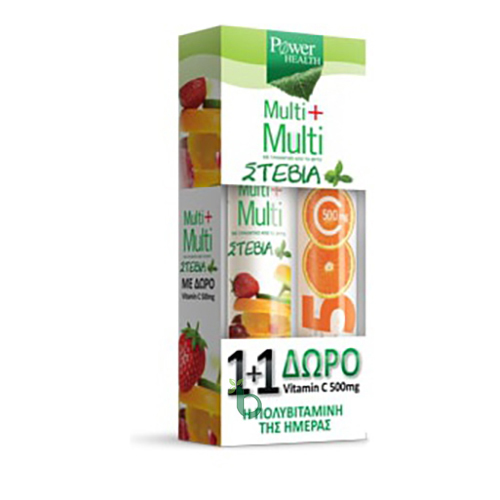 Power Health 1+1, Multi+Multi Πολυβιταμίνες με Στέβια 24 Αναβρ.Δισκία & ΔΩΡΟ Vitamin C 500mg 20 Αναβρ.Δισκία