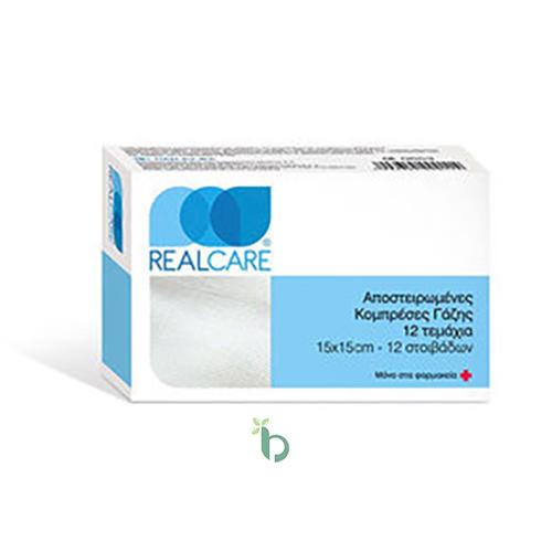 Real Care Αποστειρωμένες Κομπρέσες Γάζης 15×15, 12τμχ